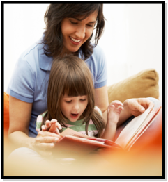 mom and girl reading together