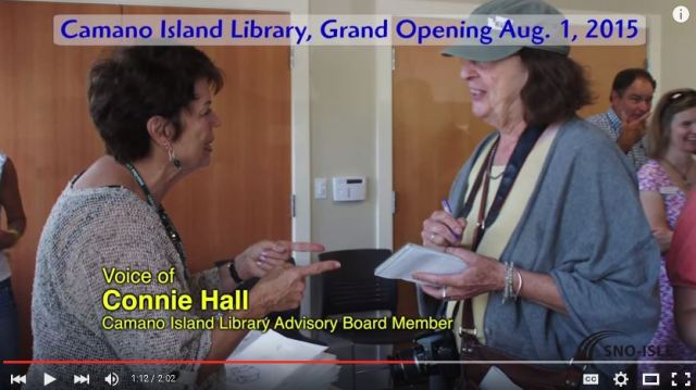 Connie Hall, Camano Island Library Friends Advisory Board Member talking to Sarah Arney, SCNews Reporter