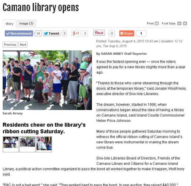 Capture SCNEWS article Library opening by Sarah Arney
